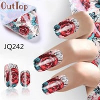 OutTop Nails accessoires  Nail foil   4*100CM Design Nail Art Foil Stickers Transfer Decal Tips Manicure  Nail Sequins -23