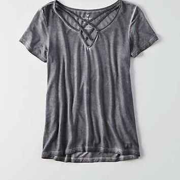 AEO Soft & Sexy Cage Front T-Shirt , True Black