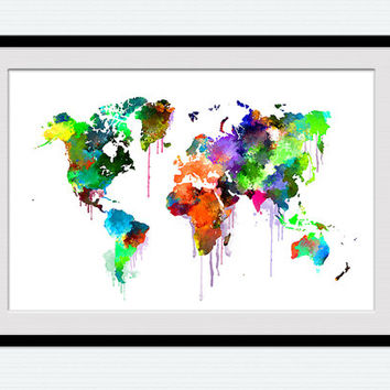 Watercolor world map, colorful map of the world, world map poster, home decoration, world map print, office decor, watercolor map art,  W108