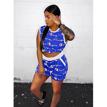 Champion Summer Woman Casual Print Sleeveless Vest Top Shorts Set Two Piece Blue