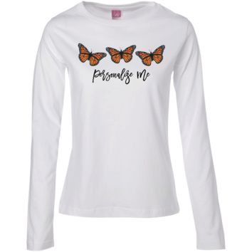 Three Monarch Butterfly Personalized Ladies' LS Cotton T-Shirt