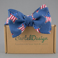 American Self Tie Bow Tie USA Star Men's Bow Tie Freestyle Bow Tie Patriotic Bow Tie for Men Denim Bow Ties Gift for Father America Gift