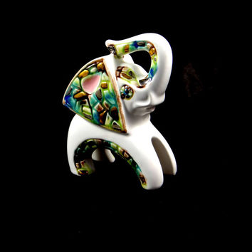 Mid-Century Elephant Figurine with Mosaic Design. Made in Japan by Relco
