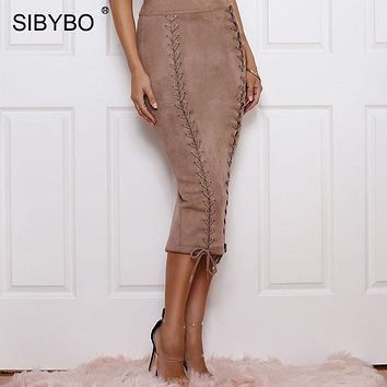 Sibybo Lace Up Suede Leather Sexy Skirts Womens Autumn Winter Hollow Out High Waist Back Split Women Skirt Long Club Party Skirt