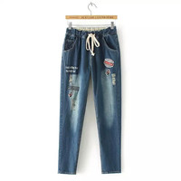 Denim Blue Ripped Patched Drawstring-Waist Pants