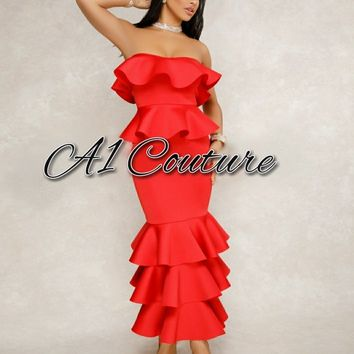 Zarella Strapless Red Ruffle Maxi Dress