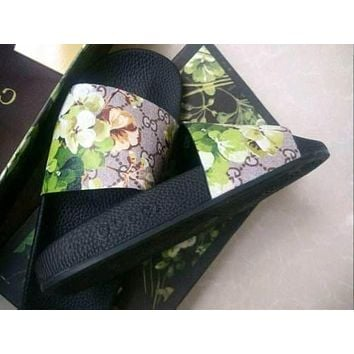 sho souvenir Gucci Casual Fashion Women Floral Print Sandal Slipper Shoes