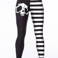 Black Contrast Stripe Skull Print Leggings