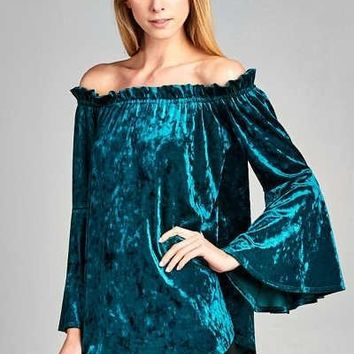 Classic Velvet Off Shoulder Tunic Top with Bell Sleeves