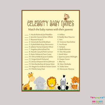 Celebrity Baby Shower Game Printable - Safari Celebrity Baby Name Match - Instant Download - Safari Baby Shower Game - BS0001-N