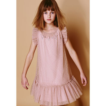 Monnalisa Jakioo- Tulle Tea Peach Dress, Rosa - 12Y