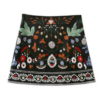 Vintage Embroidered Mini Skirt