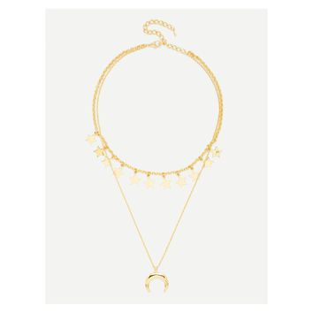Gold Stars Moon Pendant Layered Necklace