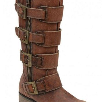 LMFYW3 Corral Distressed Cognac Straps & Zipper Boots P5078