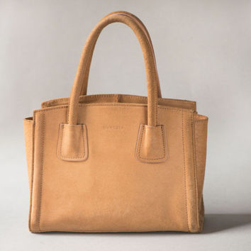 Small Handbag Cognac Shade - Genuine Suede Handbag Burkely - Two Handles Bag Minimalist - City Handbag Modern Classic - Trendy Timeless Bag