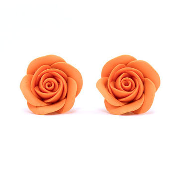 "Small Stud Earrings ""Rose"" Bright Floral Earrings with Roses from Polymer Clay Orange Earstuds Gift for Girl Roses Jewelry"