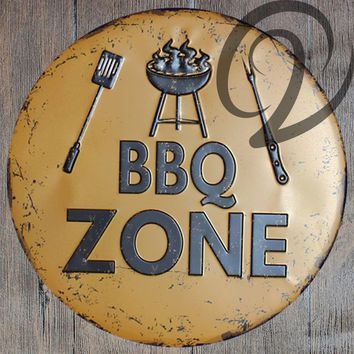 BBQ Zone Pub Home Bar Wall Decals Shabby Chic Tin Plaques Vintage Metal Sign Wall Poster Cafe Shop Metal Plates