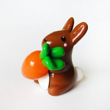 Brown Bunny Holding Carrot Miniature Figure