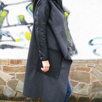NEW COLLECTION Grey Asymmetric Extravagant Coat / Long Sleeves Loose Cashmere Top/Casual Warm Winter Coat by moShic C005