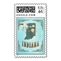 Indiana Map With Lovely Birds Postage Stamps
