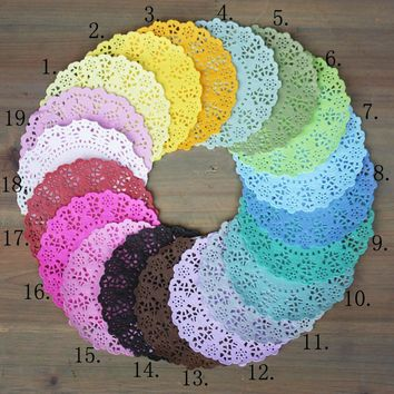 140pcs/Lot  4.5''DIY Lace Decorative Paper Doilies Colorful Flower Style Hollowed Place mat scrapbook accessories free shipping