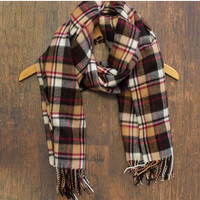 Fall Plaid Fringe Scarf