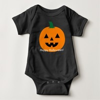 Halloween Baby 1 piece pumpkin front and back T Shirts
