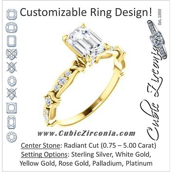 Cubic Zirconia Engagement Ring- The Willow (Customizable Radiant Cut Artisan Design with 3 Kinds of Round Cut Accents)