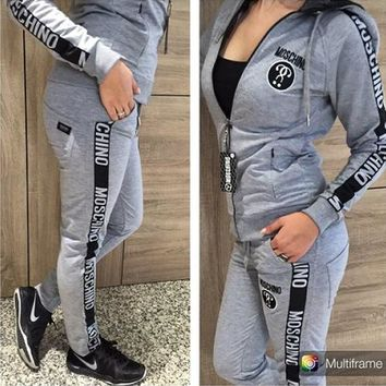 Moschino Women Casual Cardigan Jacket Coat Trousers Pants Trousers Set Two Piece