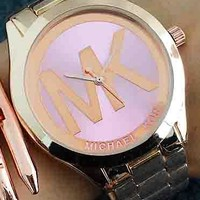 MK Ladies Men Trending Fashion Quartz Watches Wrist Watch F-Fushida-8899 Pink