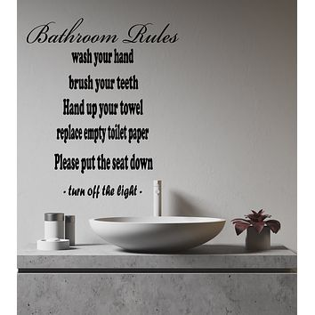 Vinyl Wall Decal Bathroom Rules Hygiene Words For The Restroom Stickers (4273ig)