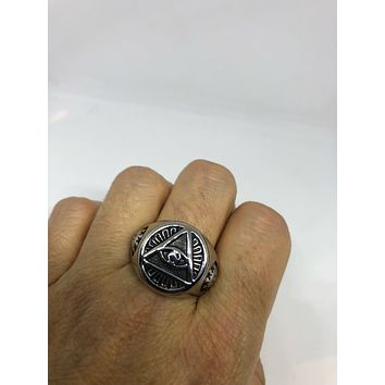 Vintage Gothic Stainless Steel Illuminati Eye Pyramid Mens Ring