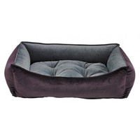 MicroVelvet Scoop Bolstered Dog Bed — Aubergine Purple