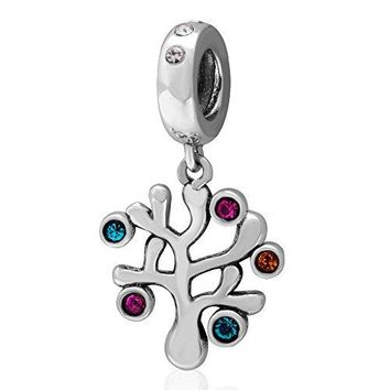 Everbling Family Roots Trees Love Family Forever 925 Sterling Silver Bead Fits Pandora Charm Bracelet