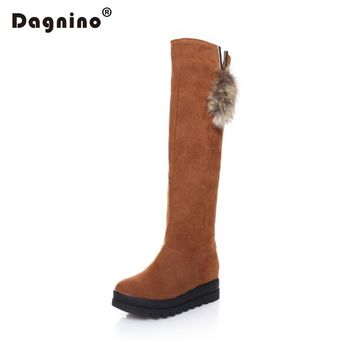DAGNINO Autumn Winter Botas Feminina Mujer High Fur Snow Boots Women Rabbit Hair Over The Knee Platform Wedge High Heels Shoes