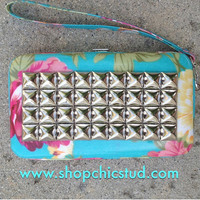 Studded Clutch Wallet for iPhone 4s 5 - Mint Floral Print -Silver Studs-