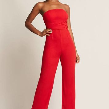 Strapless Tie-Back Jumpsuit