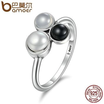 Fashion 100% 925 Sterling Silver Bubble Freshwater Pearl Finger Rings for Women Party Engagement Jewelry SCR100