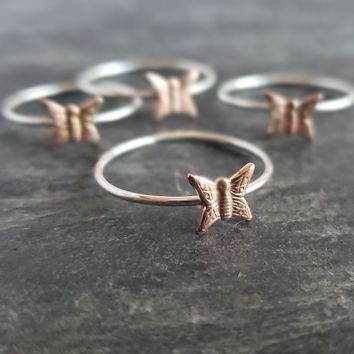 Silver Stacking Ring with Copper Butterfly