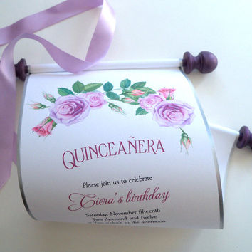 Quinceanera Invitation Scroll, Princess Birthday Party, Watercolor roses invitation, 15th birthday invitation, lavender and purple,  {25}