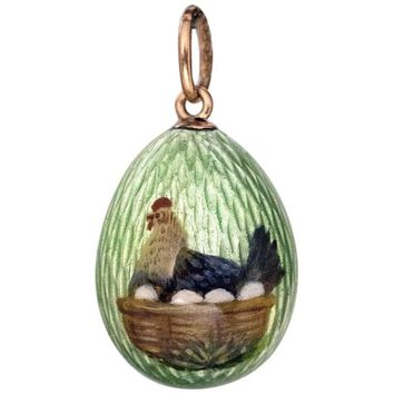 Antique Faberge Enamel Miniature Egg Pendant