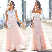 2017 Hot Sell Women Sexy Vestidos Party Dresses Nude Pink Beach Summer Boho Maxi Long Hollow Out Patchwork Sundress plus size