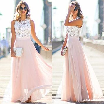 Women Sexy Party Dresses  Pink Beach Summer Boho Maxi Long Hollow Out Patchwork Sundress Plus Size