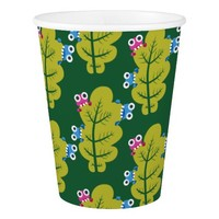 Pattern of Cute Bugs Eating Green Leaves Paper Cup