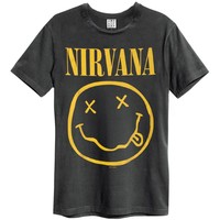 Nirvana Men's  Smiley Face Slim Fit T-shirt Black