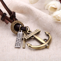 Fashion Vintage Retro Punk Cross Anchor Pendants Genuine Leather Collar Necklace Jewelry Accessory