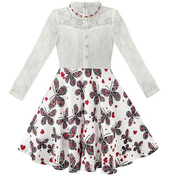 Girls Lace Pearl Plum Blossom Elegant Princess Dress