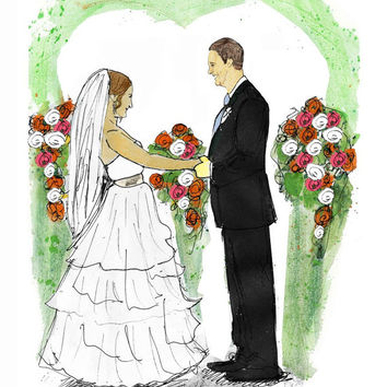 Bride groom portrait painting from photo in watercolor. This wedding day portrait is a unique wedding memento and wedding gift idea