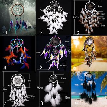 Colorful Handmade Dream Catcher with feathers wall hanging decoration ornament Gift
