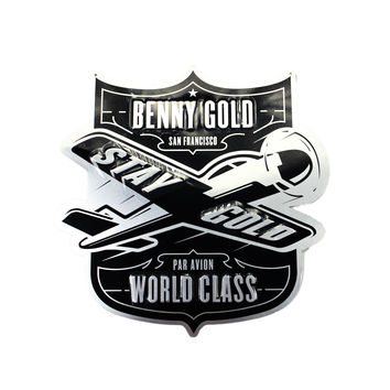 Deadstock Benny Gold Par Avion Metal Shop Sign